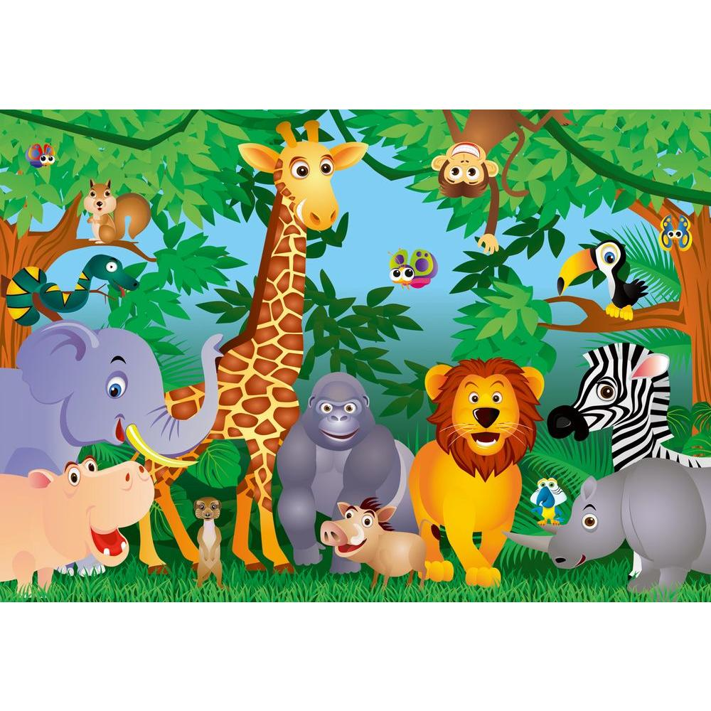 Ideal Decor 100 in. x 144 in. The Jungle Wall Mural