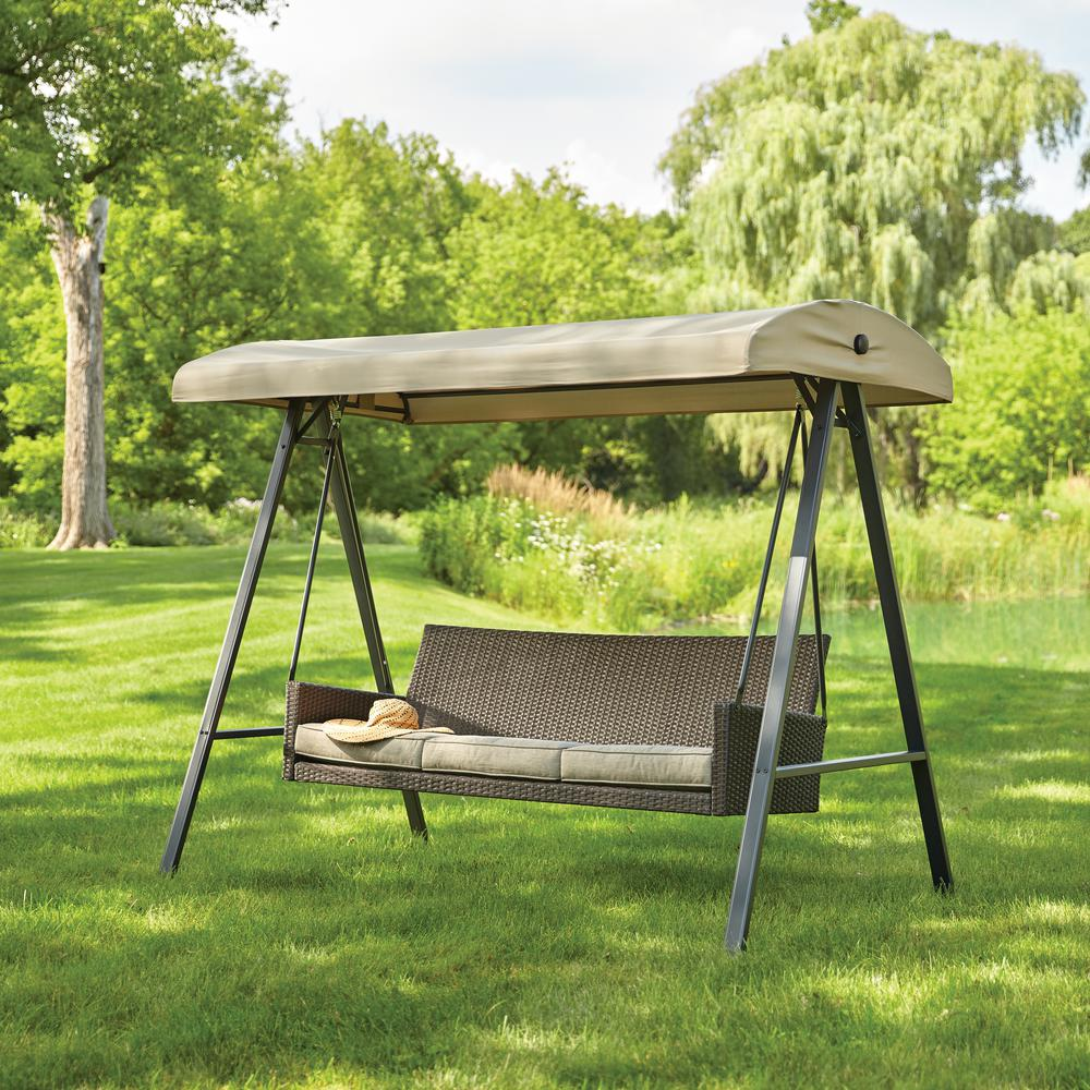 patio swing with canopy Hampton Bay Plaistow 3 Person Wicker Outdoor Swing with Canopy  patio swing with canopy