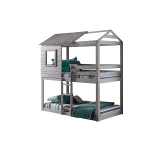 Deer Blind Gray Twin Bunk Bed Loft