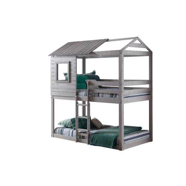 Donco Kids Deer Blind Gray Twin Bunk Bed Loft 1370-TTLG