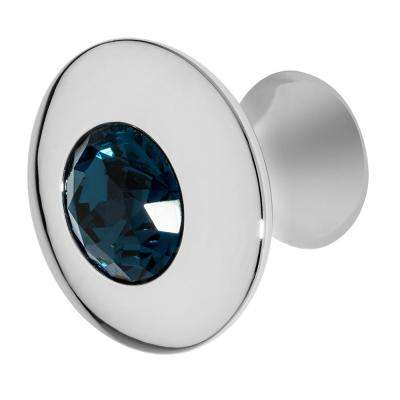 Felicia 1-1/4 in. Chrome with Ocean Blue Crystal Cabinet Knob