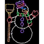 57 in. Christmas Snowman Holding Broom with LED Lights