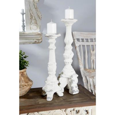 16 in. Tall Distressed White Decorative Antique Candle Holder