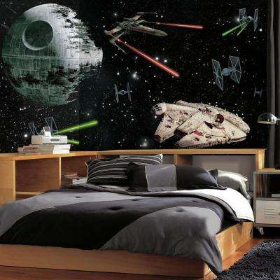 72 in. W x 126 in. H Star Wars Vehicles XL Chair Rail 7-Panel Prepasted Wall Mural