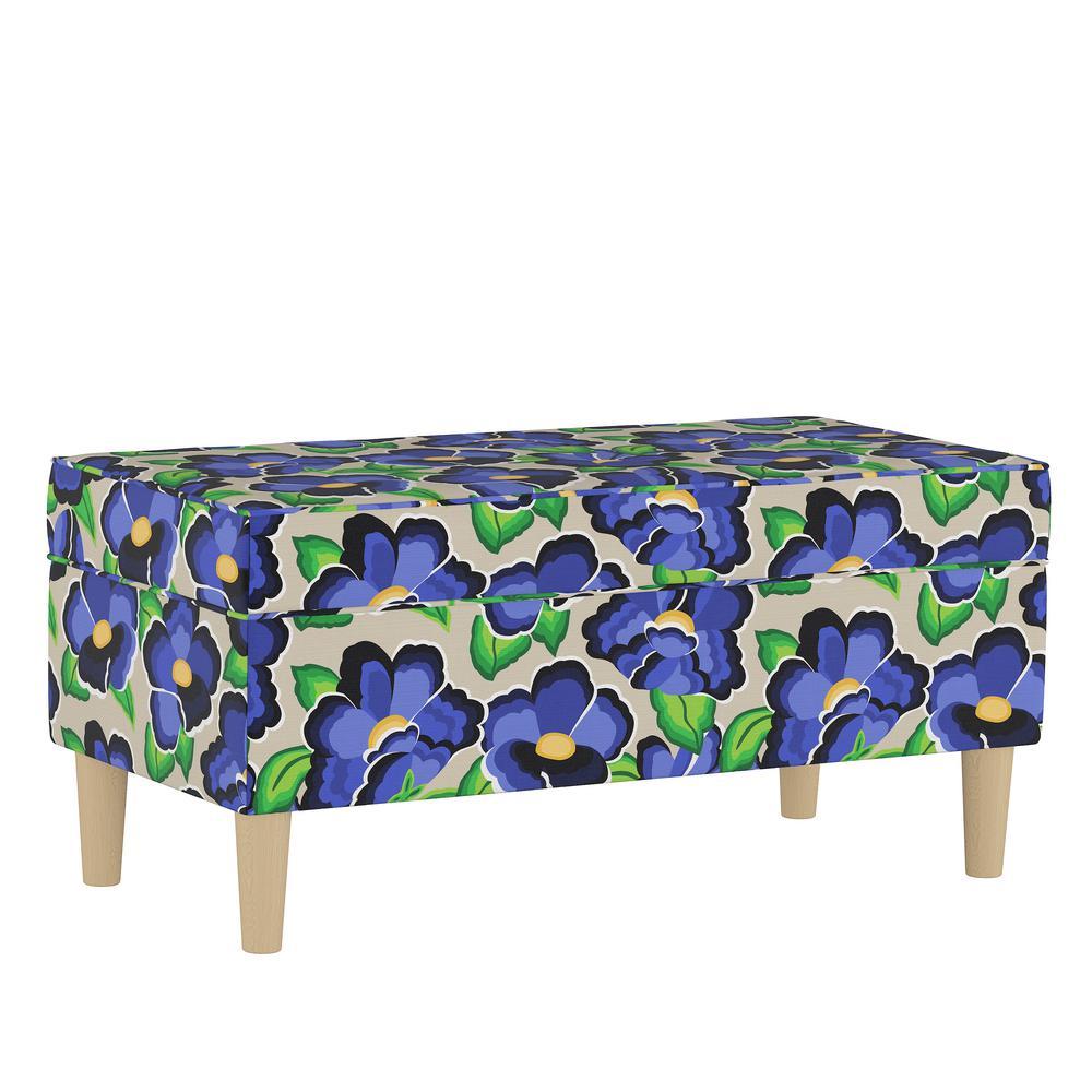 Carla Floral Blue Storage Bench