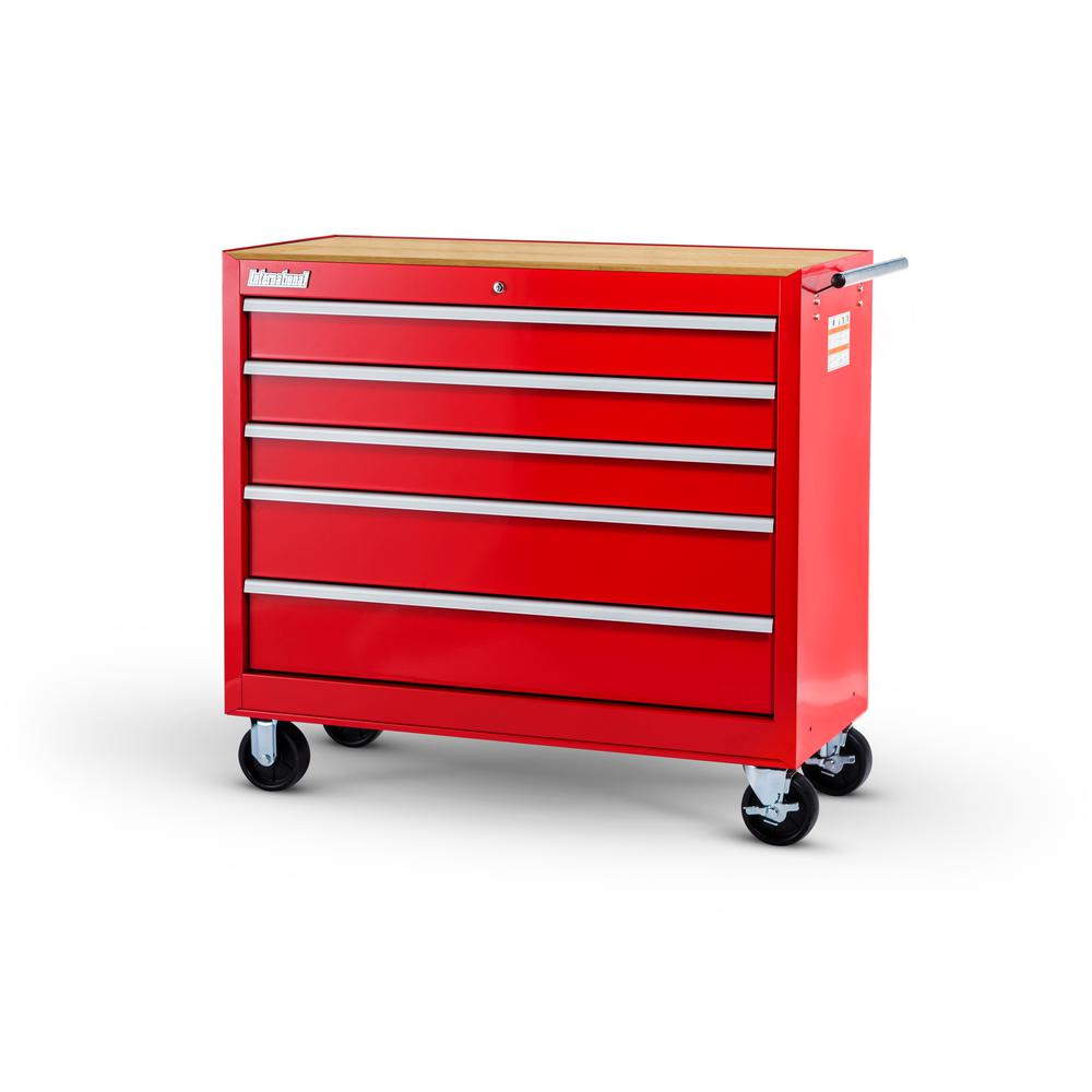 International Workshop Series 42 in. 5-Drawer Cabinet with Wood Top, Red