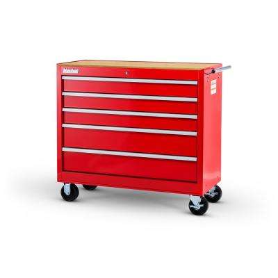 Workshop Series 42 in. 5-Drawer Cabinet with Wood Top, Red