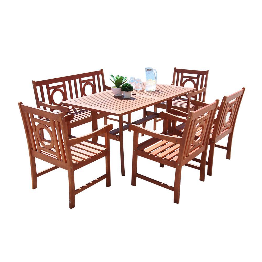 Malibu 6-Piece Wood Rectangle Outdoor Dining Set