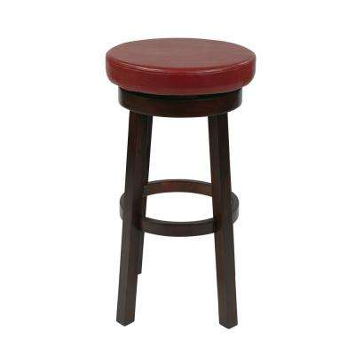 Metro 30 in. Crimson Red Faux Leather Round Barstool
