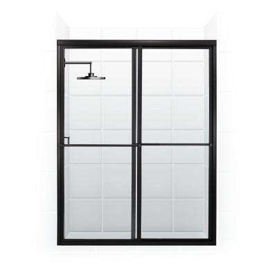 Newport Series 54 in. x 70 in. Framed Sliding Shower Door with Towel Bar in Oil Rubbed Bronze and Clear Glass