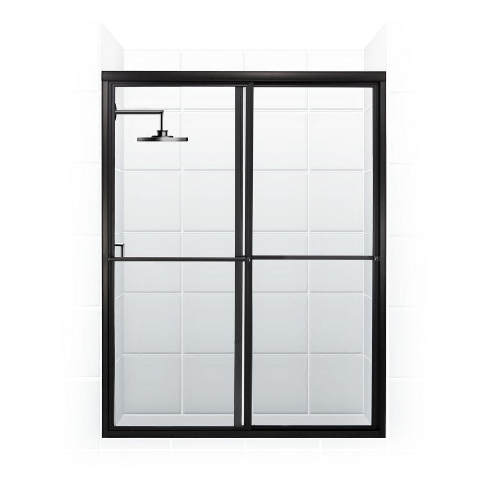 Coastal Shower Doors Newport Series 58 in. x 70 in. Framed Sliding Shower Door with Towel Bar in Oil Rubbed Bronze and Clear Glass