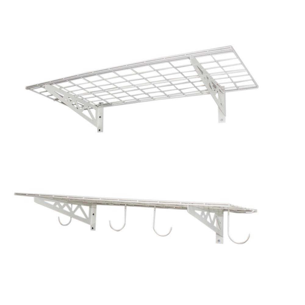 Metal wall mounted shelves garage shelves racks the home depot 18 in x 36 in industrial steel wall shelves amipublicfo Image collections