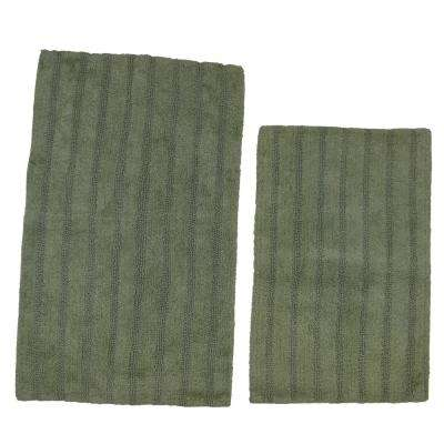 Light Sage 21 in. x 34 in. and 24 in. x 40 in. Linear Reversible Reversible Bath Rug Set (2-Piece)