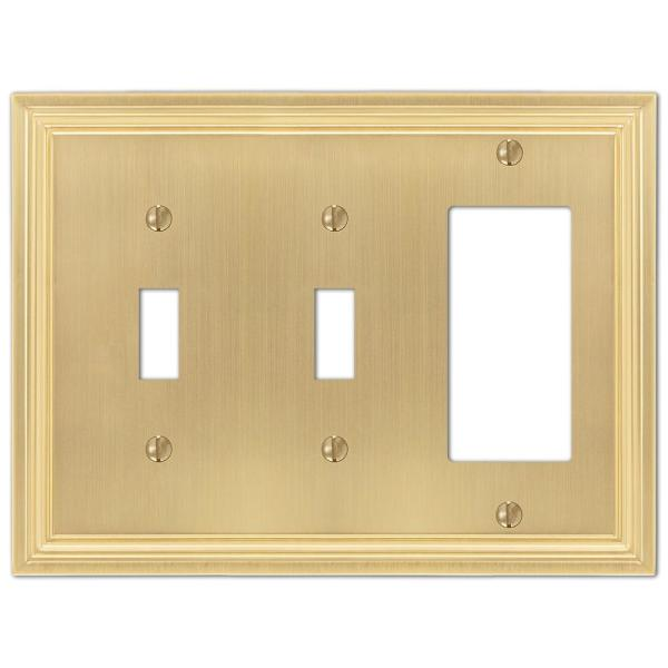 Hallcrest 3 Gang 2-Toggle and 1-Rocker Metal Wall Plate - Satin Brass
