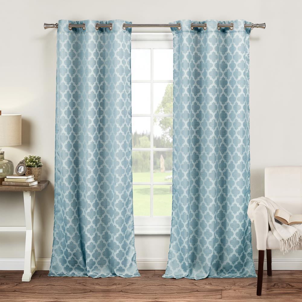 Longoria 38 in. W x 84 in. L Polyester Window Panel in Light Blue