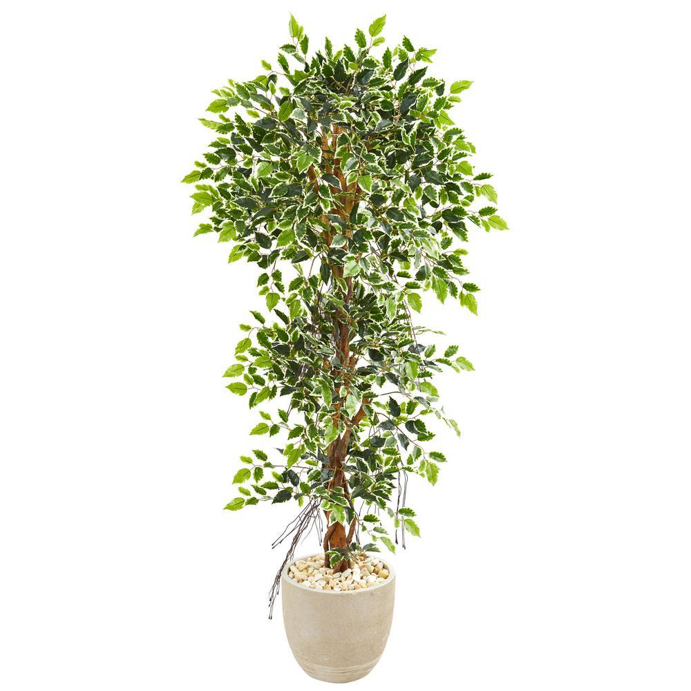 Indoor 63 Elegant Ficus Artificial Tree in Sandstone Planter