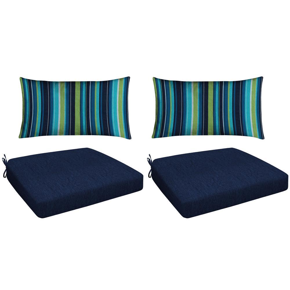 Honeycomb Navy 4 Piece Outdoor Premium Dining Chair Cushion Set