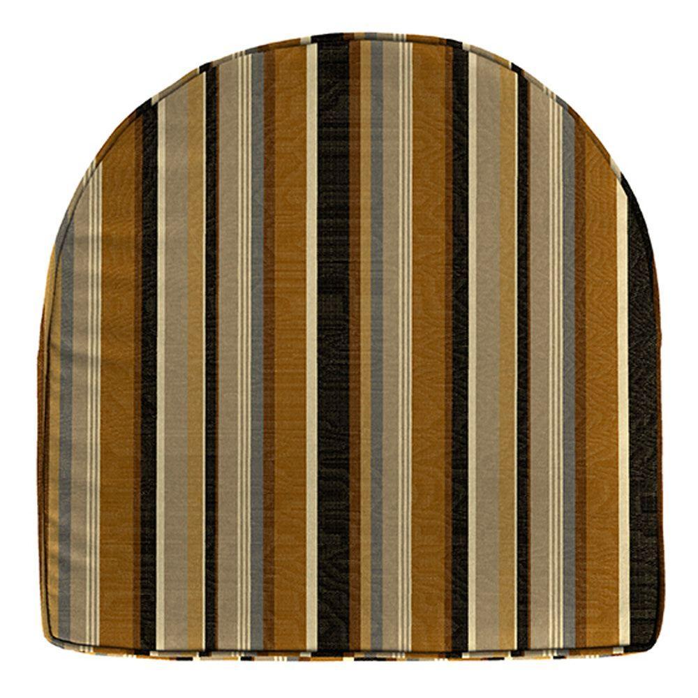 Home Decorators Collection Sunbrella Espresso Stripe Contoured Outdoor Seat Cushion