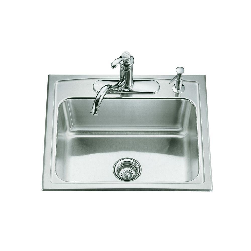 Kohler Toccata Drop In Stainless Steel 25 In 4 Hole Single Bowl