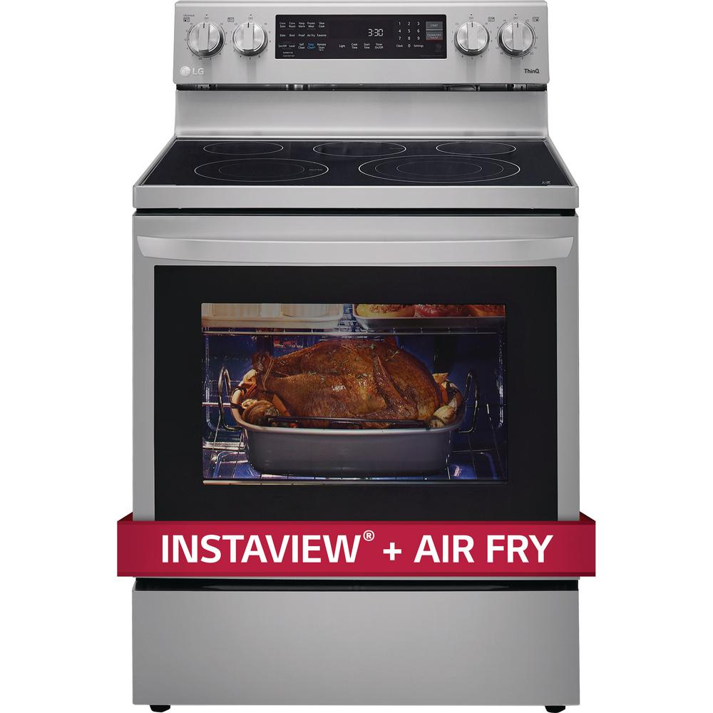 LG Electronics 6.3 cu. ft. Smart True Convection InstaView Electric Range Single Oven with Air Fry in Printproof Stainless Steel