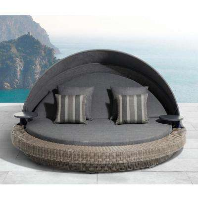 Sarasota 1-Piece Aluminum Outdoor Day Bed with Olefin Dark Gray Cushions