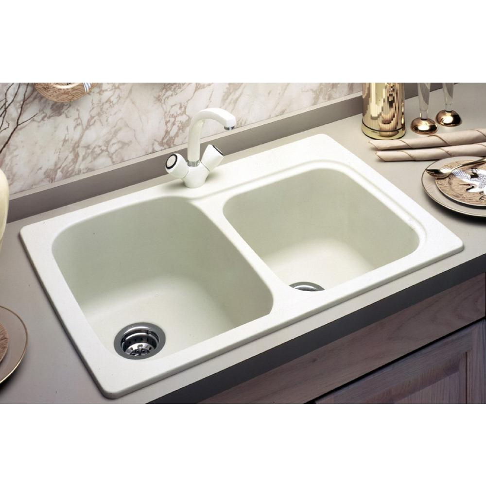 Swan Drop-In/Undermount Solid Surface 33 in. 1-Hole 55/45 Double Bowl  Kitchen Sink in White