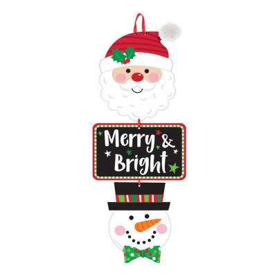 20 in. x 7.75 in. Christmas Merry and Bright MDF Stacked Sign (3-Pack)