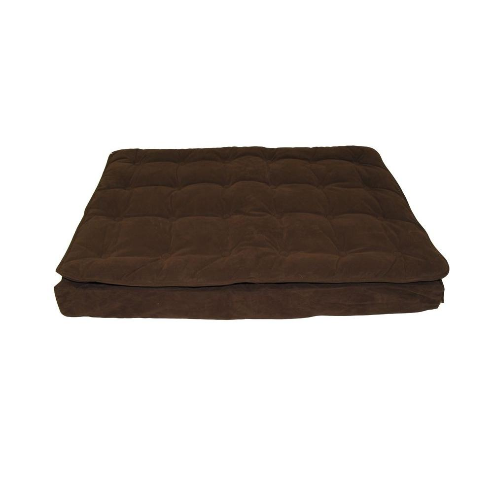 Carolina Pet Company Large Chocolate Luxury Pillow Top Mattress Bed Treat your pet to well-deserved sleep. This pet bed is the perfect resting spot. The soft, plush cashmere microfiber top is comfortable and easily removed for wash day. Its 4 in. foam base holds the bed in place and allows it to retain its shape.