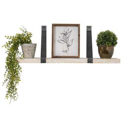 Industrial Grace 9.5in x 36in x 13in White Pine Wood Drop Down Decorative Wall Shelf with Brackets