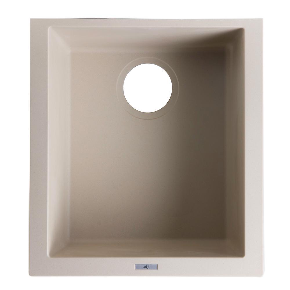 ALFI BRAND Undermount Granite Composite 16.13 in. Single Bowl Kitchen Sink  in Biscuit