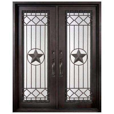46 in. x 97.5 in. Texas Star Classic Full Lite Painted Oil Rubbed Bronze Wrought Iron Prehung Front Door