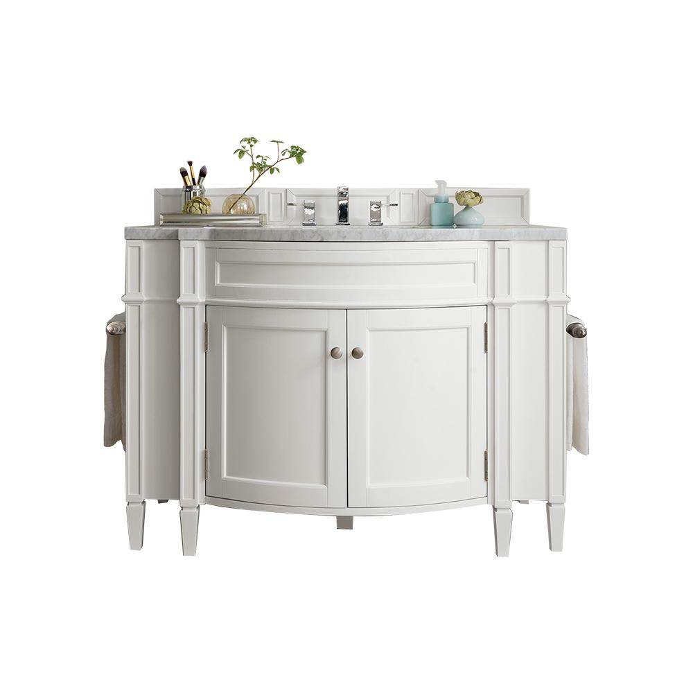 James Martin Signature Vanities Brittany 46 in. W Single Vanity in Cottage White with Marble Vanity Top in Carrara White with White Basin