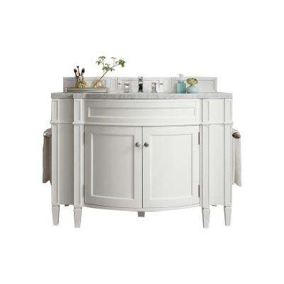 Brittany 46 in. W Single Bath Vanity in Cottage White with Marble Vanity Top in Carrara White with White Basin