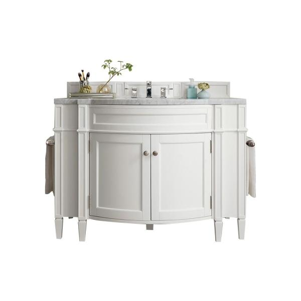 James Martin Vanities Brittany 46 In W Single Bath Vanity In Cottage White With Marble Vanity Top In Carrara White With White Basin 650v46cwh3car The Home Depot