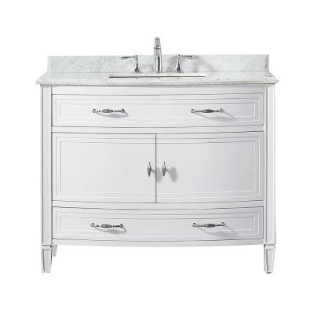 Dacosti 42 in. W x 22 in. D Vanity in White with Marble Vanity Top in White with White Sink