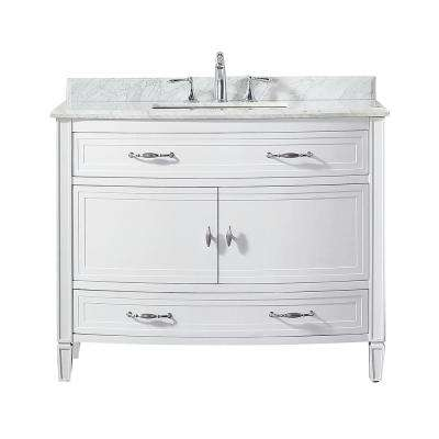 Dacosti 42 in. W x 22 in. D Vanity in White with Marble Vanity Top in White with White Sink