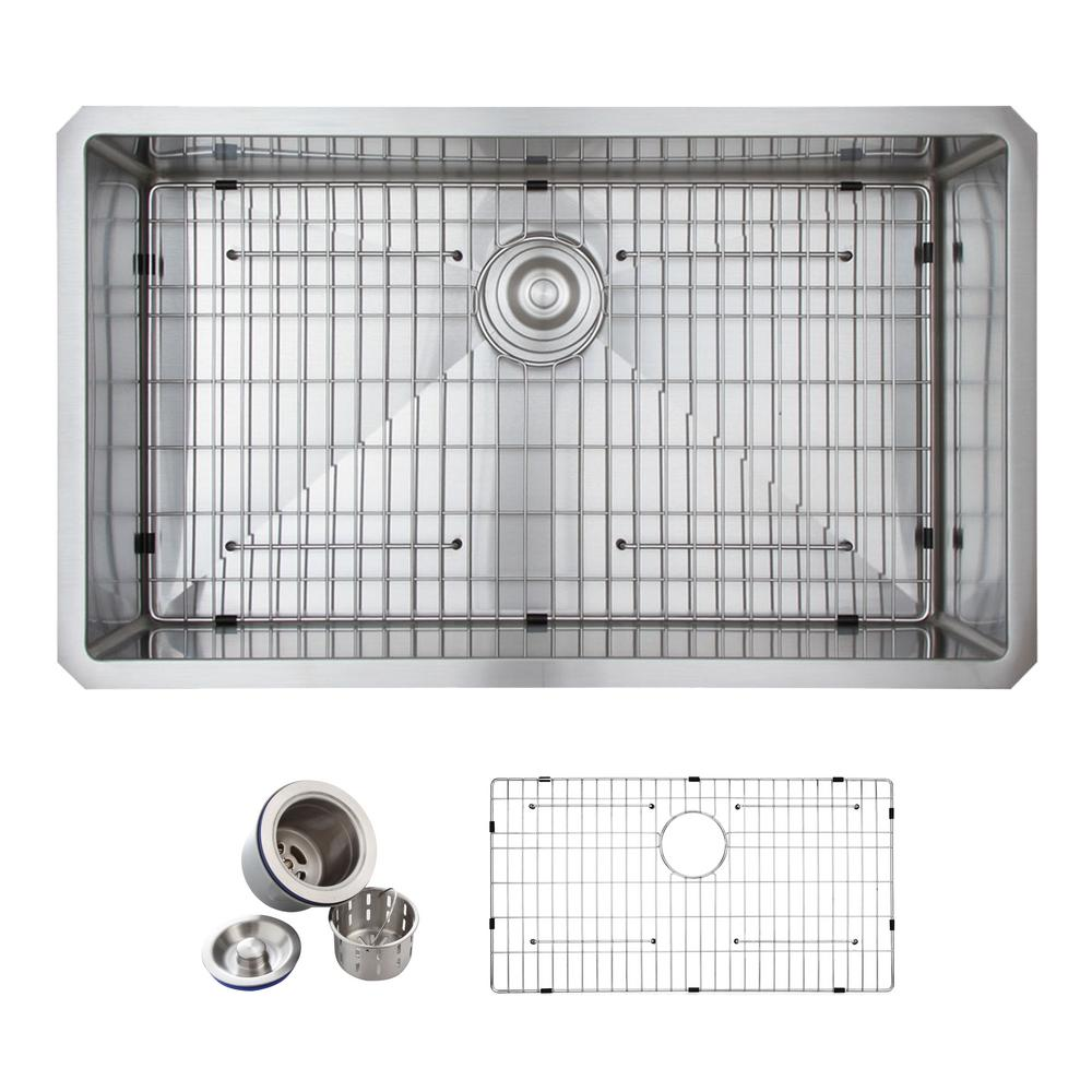 All In One Undermount Stainless Steel 32 In. Single Bowl Kitchen Sink In