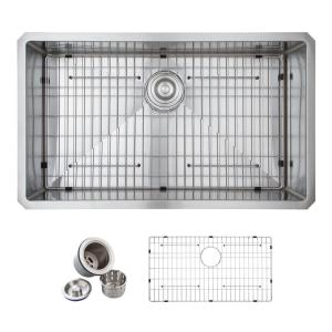 Glacier Bay All-in-One Undermount Stainless Steel 32 inch Single Bowl Kitchen Sink in Satin by Glacier Bay