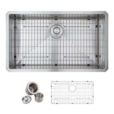 All-in-One Undermount Stainless Steel 32 in. Single Basin Kitchen Sink in Satin