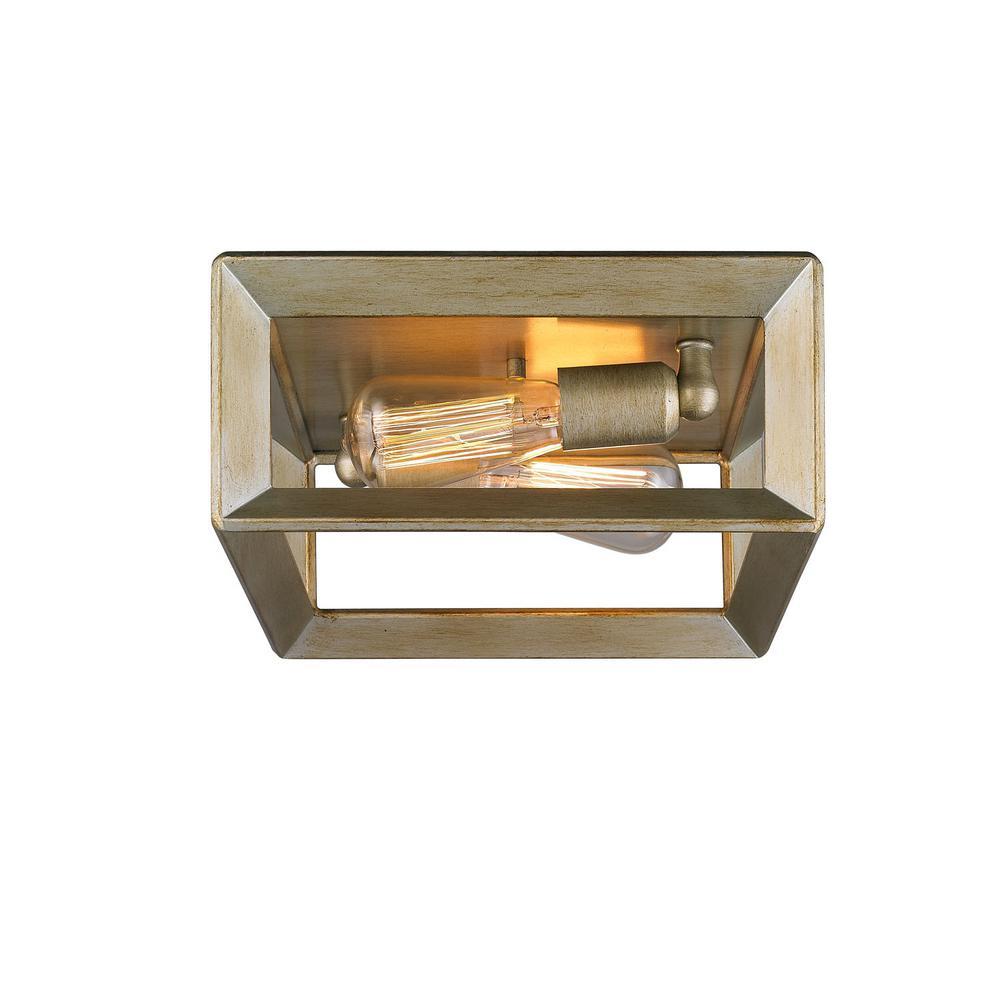 Smyth 2-Light White Gold Flushmount