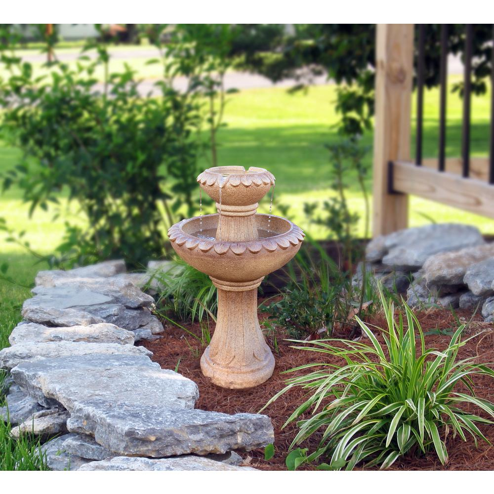 Alpine Corporation 25 in. Tall 2-Tier Pedestal Fountain in Brown