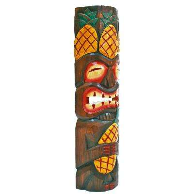 40 in. Tiki Mask Full Body Fun Leaf Headress and Pineapple Outdoor Decoration