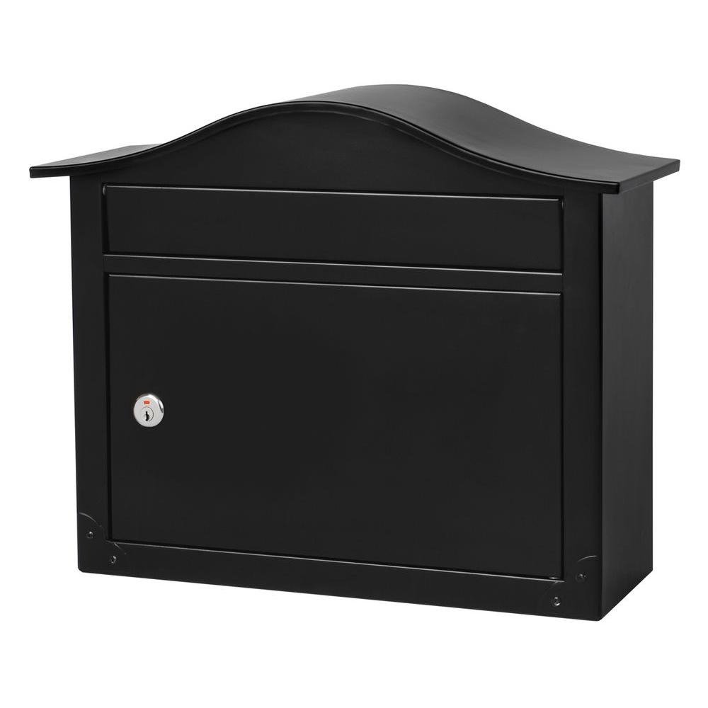 Architectural Mailbo Saratoga Black Wall Mount Lockable Mailbox