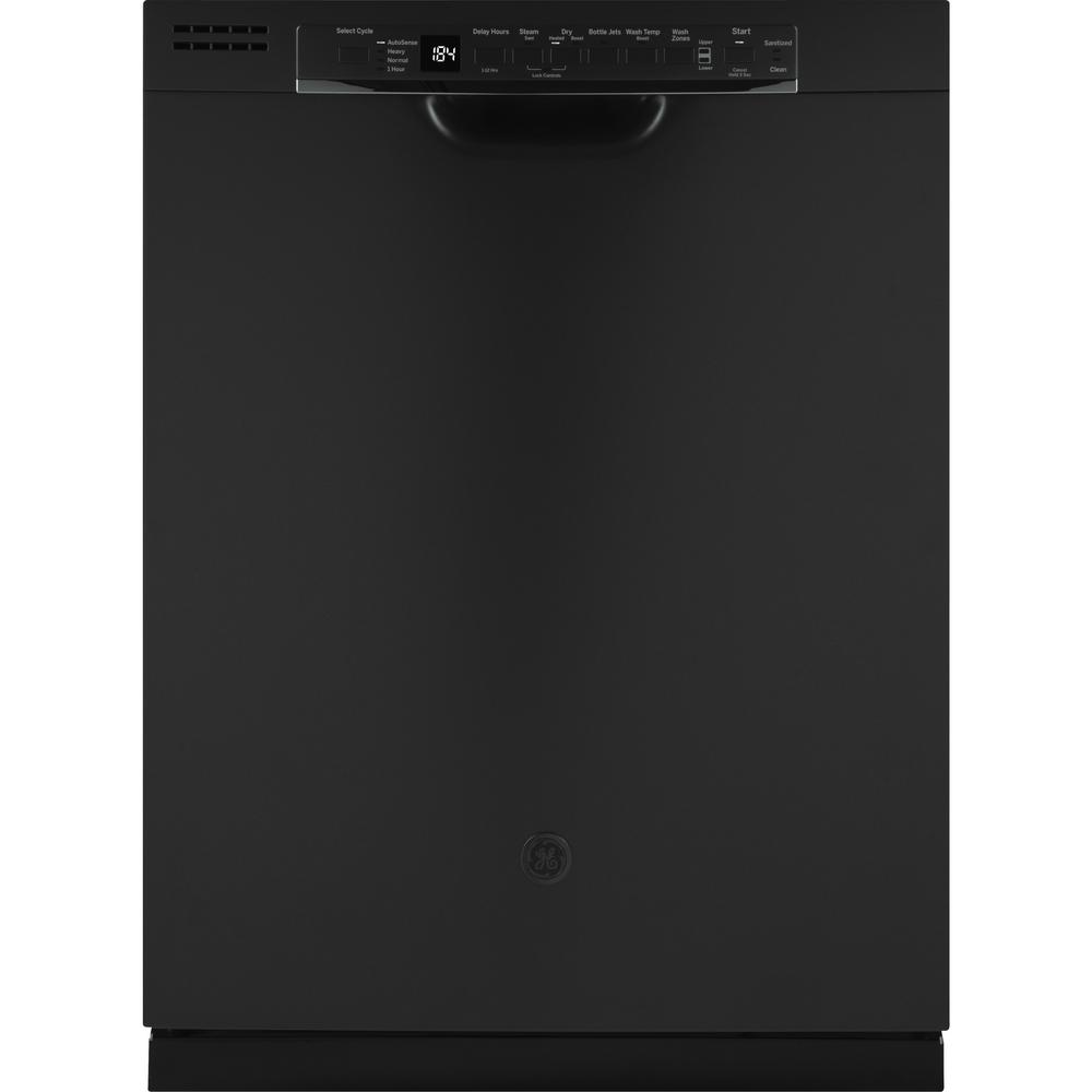 GE 24 in. Front Control Built-In Tall Tub Dishwasher in Black Slate with Stainless Interior Door and 3rd Rack, 50 dBA