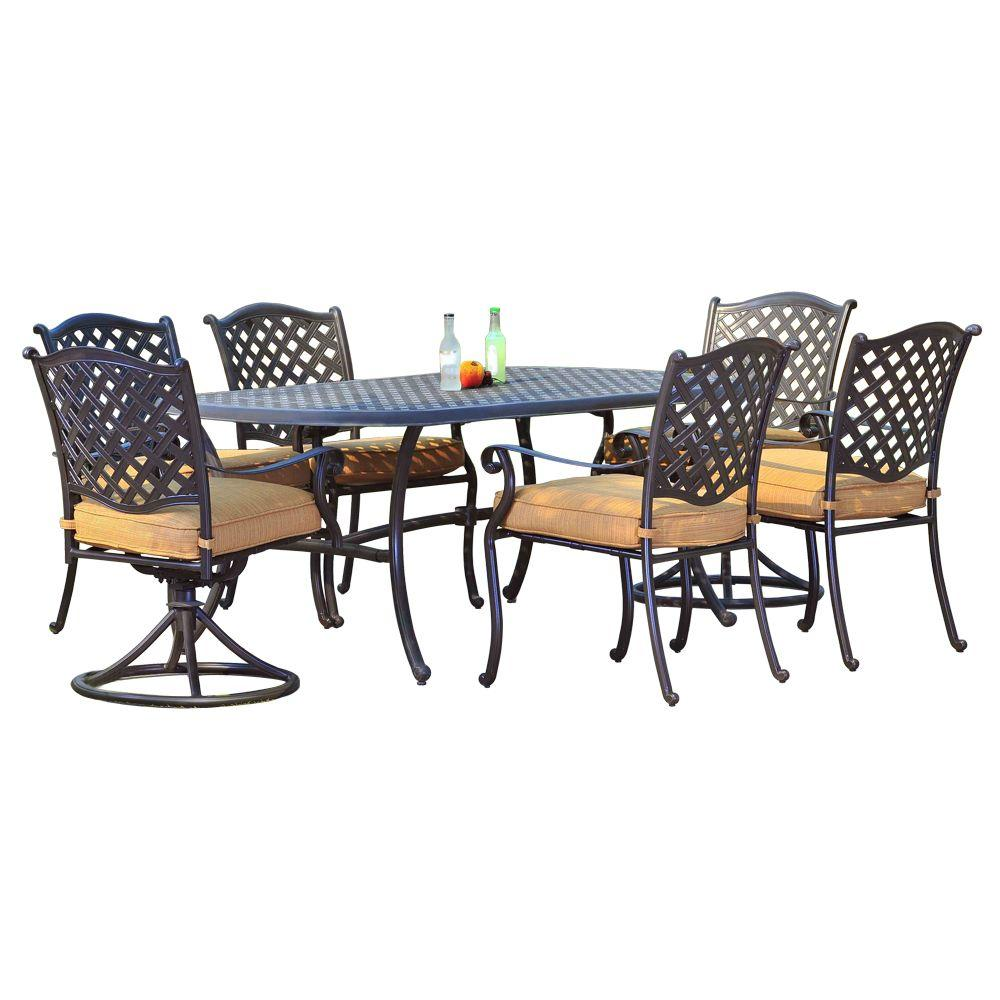 Ruby Aluminum 7 Piece Patio Dining Set With Woven Wheat Cushion
