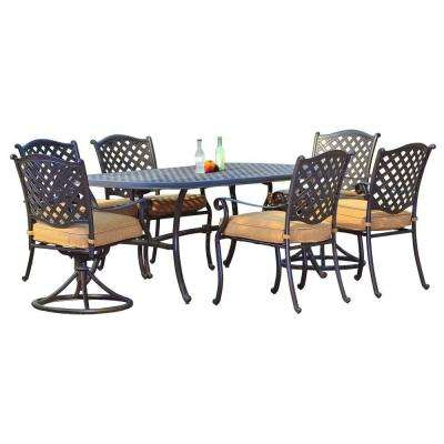 Ruby Aluminum 7-Piece Patio Dining Set with Woven Wheat Cushion