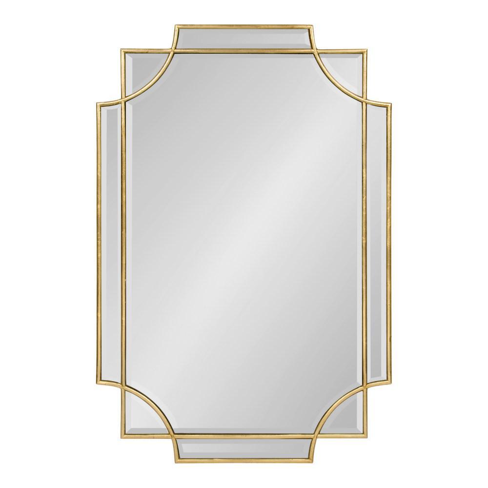 Medium Rectangle Gold Contemporary Mirror (35.4 in. H x 23.6 in. W)