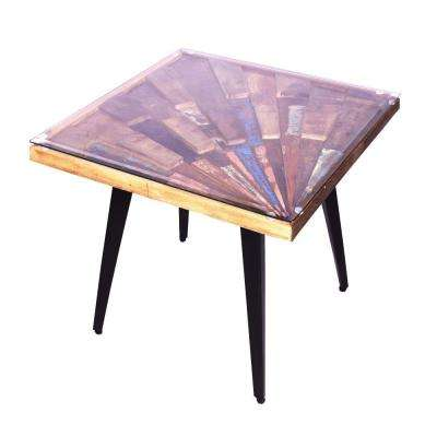 Multi-color Square Wooden End Table with Sunburst Design Glass Inserted Top