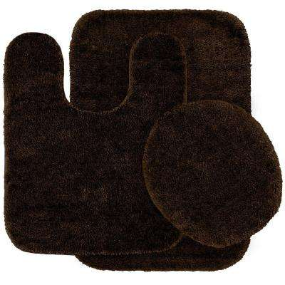 Traditional Chocolate 21 in. x 34 in. Washable Bathroom 3 Piece Rug Set