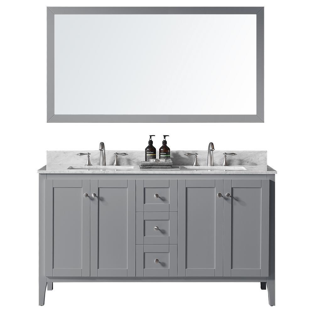 York 60 in. W x 22.4 in. D x 34.2 in. H Bath Vanity in Taupe Grey w/ Marble Vanity Top in White w/ White Basin & Mirror